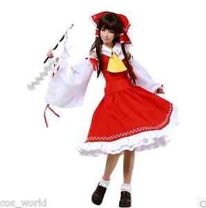 Touhou Project Hakurei Reimu Red Mix White Full Set Fold Dress Cosplay Costume