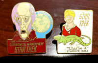 2 FOR 1 SALE! Vintage Star Trek Cloisonne Pin Set of 2-Corbomite/Charlie(03/08)