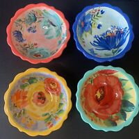 THE PIONEER WOMAN  10 OZ  DELANEY CORAL FLORAL DIP BOWLS SET OF 4