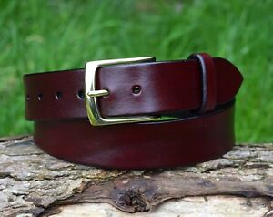 Christopher Piero Handmade Oxblood Leather Belt Solid Brass Nickel Plate Buckle
