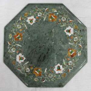 """12"""" green Marble side end Table Top Pietra Dura Handmade Work"""