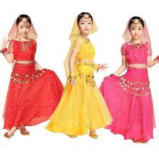 Girls Elegant Belly Dance Costume Set Outfit Shiny Top Hip Belts Veil scarf Kids