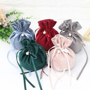 1pcs Luxury Packing Drawstring Velvet Pouch Sachet Gift Bag With Pearl Decor.BI