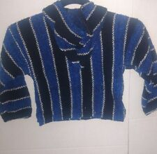 Baja Toddlers Surf Hoodie Blue & Black striped Pullover pocket in front sz 2-3T