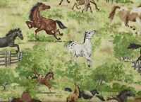 Open Range  running horses meadow Wilmington fabric