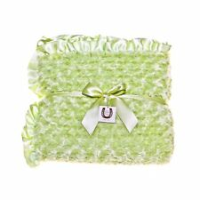 Max Daniel Adult Throw Blanket Celery Rosebuds Throw Double Sided Ruffle Edge