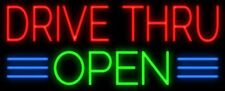 "New Drive Thru Open Business Beer Neon Sign 20""x16"""