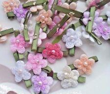 50pcs Assorted Velvet Flower Handmade Appliques Doll Craft Card Making Wedding