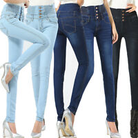 Womens Jeans Size 6-16 Ladies High Waisted Skinny Fit Jeans Stretch Denim Plant