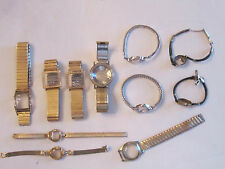 LOT OF (11) VINTAGE WATCH BANDS WITH CRYSTALS - PARTS ONLY -
