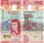 100 PESOS MEXICO BILL SERIES AJ UNCIRCULATED - NEW DESIGN - FREE SHIPPING