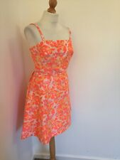 Definitions Dress UK 16 Bright Fluro Floral Orange Yellow Pink Prom Style 50s