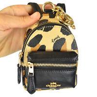 NWT Coach Leopard Animal Print Backpack Coin Case Bag Charm Keychain