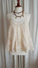 Kate Moss Topshop Cream Vintage Lace Crochet Swing Cami Vest Top UK 10 12 BNWT!