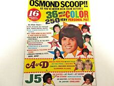 16 MAGAZINE EXCELLENT CONDITON SUMMER HOLIDAY EDITION 1973 OSMONDS ISSUE NO. 1