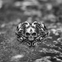 Gothic Vine Pirate Skull Rings Mens Biker Stainless Ring Women Punk Rock Jewelry