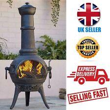 🔥Blooma Etinas Cast iron & steel Chiminea Fire Pit Fireplace Garden Patio Heat