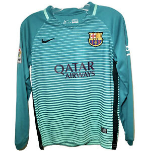 NIKE FC BARCELONA FCB QATAR AIRWAYS AUTHENTIC TEAL AWAY JERSEY SIZE 28 / M RARE