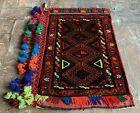 Hand Woven Made Vintage Afghan Salt Bag / Pillow Cover Area Rug 3 x 2 Ft (22083)