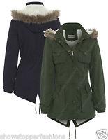 NEW Women's FLEECE LINED PARKA Ladies JACKET COAT FISHTAIL Size 10 12 14 16 Fur