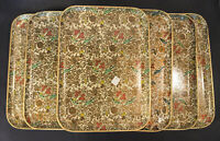"""6 VTG MCM Pressed PAPER MACHE SERVING TRAY FLORAL CHINTZ SNACK MADE JAPAN 10x14"""""""
