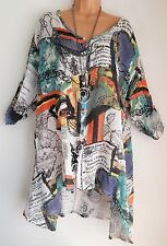 New Lagenlook White Print  Tunic Linen Mix Shirt Top uk uk onesize 18 20 22 24