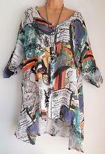 New Lagenlook White Print  Tunic Linen Mix Shirt Top uk uk onesize 18 20 22 24