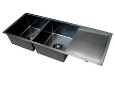 Handmade Stainless Steel Kitchen Sink Double Bowls with Drainer - PVD Black