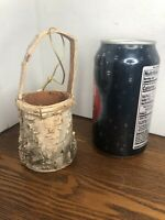 "Miniature / Small Basket Birch Bark Christmas Ornament 5"" H (includes Handle)"