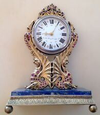 ANTIQUE MUSEUM SILVER RUBIES SAPPHIRES B.STRAFSBERGER TABLE CLOCK 18-19Th CENT