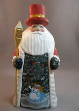 Russian hand carved painted Santa with snowman scene initialed
