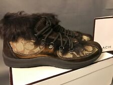 NIB COACH Collette Metallic Kid Bronze Women's Sneaker Shoe Boot