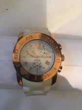 SWISS LEGEND Diamonds White W/Gold Face Ceramic Commander Mens Chronograph Watch