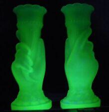 """VICTORIAN FROSTED URANIUM GLASS  CORNUCOPIA HAND 8"""" VASE X 2 / PAIR"""