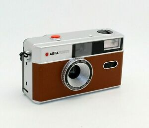 AGFA 35mm Film Reusable Compact Camera in Brown & Silver + case (UK Stock) BNIB
