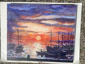 tableau signé MISSLIN Marine bateaux au coucher de soleil huile sur toile