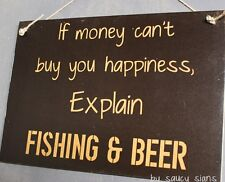 Beer and Fishing Happiness Sign Fishing Boating Tackle Hooks Bait Outboard Rod