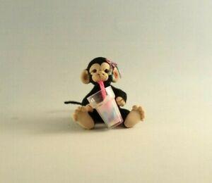 OOAK~Monkey~Smoothie Drink~Art~Artist Doll~Pink Baby Toy~Dollhouse~Cheryl Brown