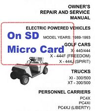 EZGo Electric and Gasoline Golf Carts, Trucks, Service Manuals 1970-1993 on SD