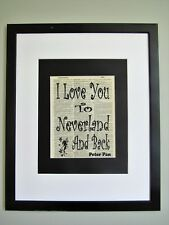 I Love you to Neverland & Back Quote Vintage Dictionary Peter Pan Nursery Decor