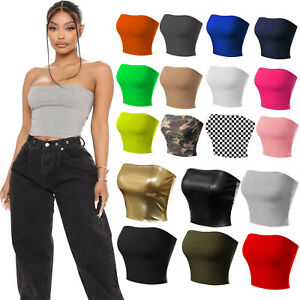 New Women's Boob Tube Strapless Sexy Bandeau Causal Stretchy Vest Bra Crop Tops