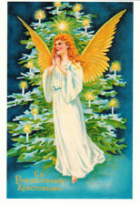 ANGEL AT X-MAS TREE Modern Russian postcard Repro of old card publ. in Germany