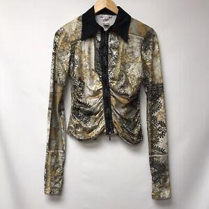 Alberto Makali Womens Size Small Jacket Black Gray White Gold Zip Front