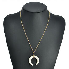 Fashion Retro White/Black Bone Horn Necklace Pendant Moon Gothic Pendant Chain