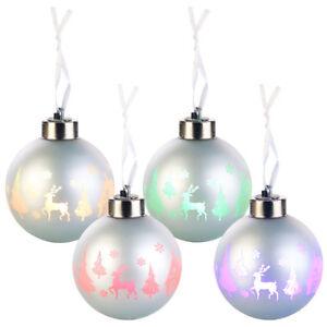 LED Weihnachtskugeln: Christbaumkugeln mit Farbwechsel-LEDs, Ø 8cm, 4er-Set