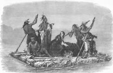 USA. Comanchees carrying, captive girl, antique print, 1858