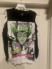 Nwt Disney Store Maleficent Cold Shoulder Shirt Adult Size Medium Gray & Black