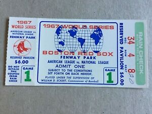 TICKET STUB 10/4/67 WORLD SERIES GAME 1 FENWAY PARK CARDINALS @ RED SOX GIBSON W