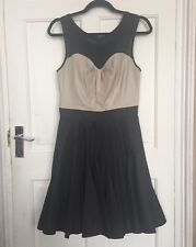Warehouse Black & Cream Party Dress / Size 10 New