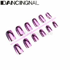 12X Metallic Artificial Full Fake False French Nail Art Tips Acrylic Manicure